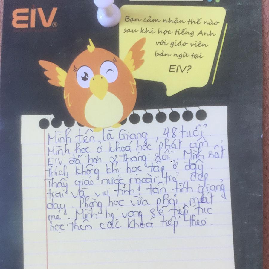 Khóa học ở EIV giúp tôi tự tin nói Tiếng Anh